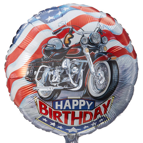 Folieballon Happy Birthday Motorcykel - Send med Helium