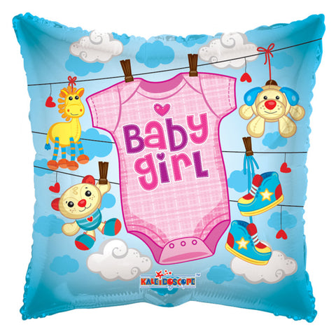 Folie Ballon firkantet Baby girl - Send med Helium