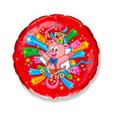 "18"" Folie Ballon ""Happy Birthday"" med Gris"