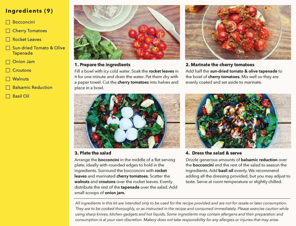recipe steps of bocconcini, cherry tomaotes & rocket salsa kit