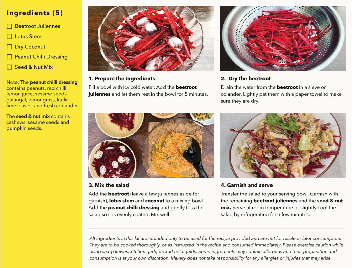 recipe steps of cambodian beetroot salad kit