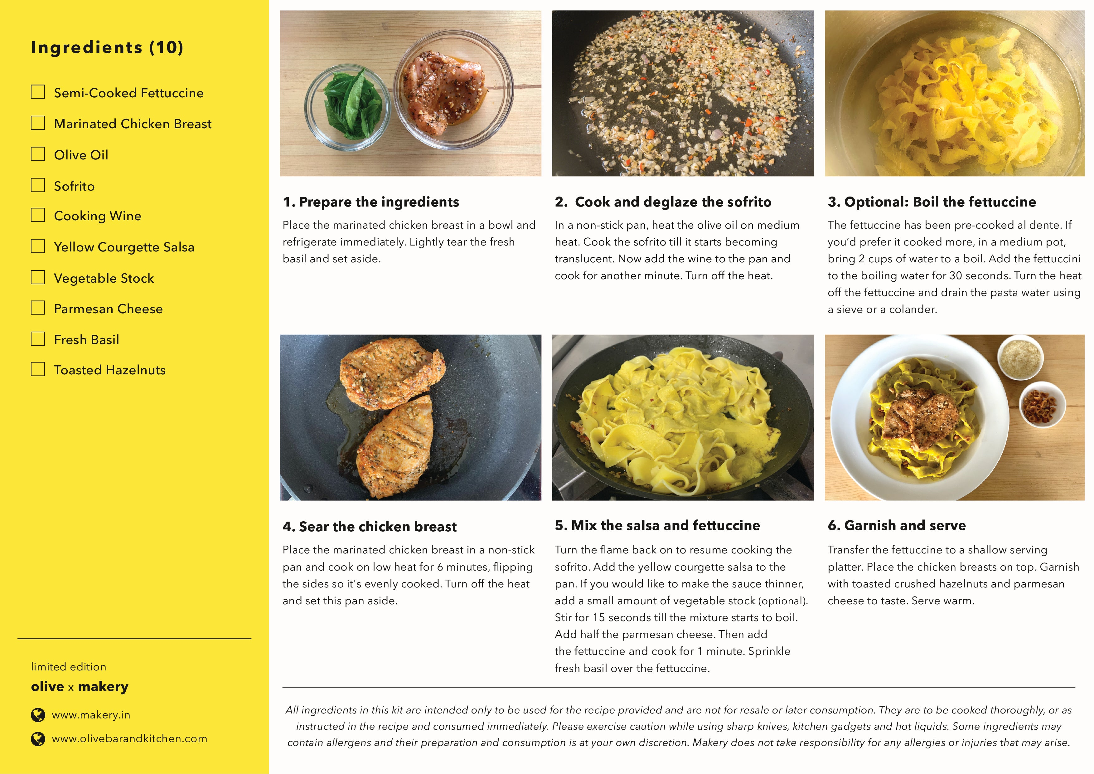 recipe card of fettuccine chicken with courgette salsa