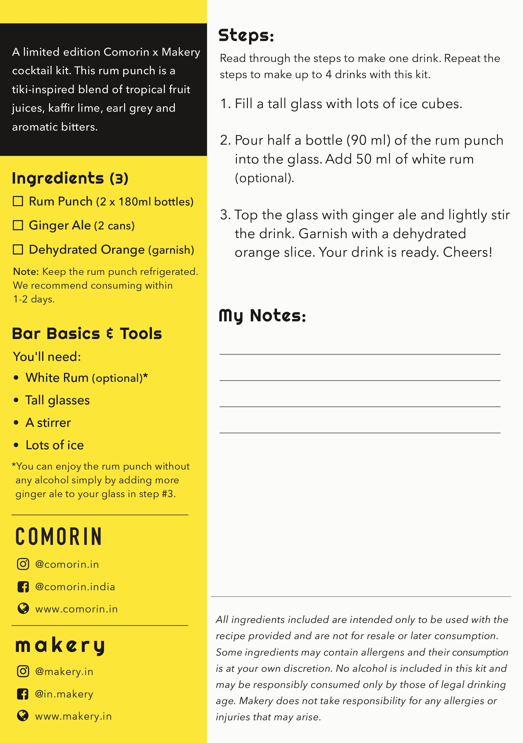 recipe card for rum punch kit