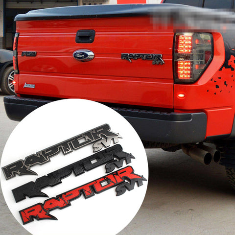 Raptor SVT Emblems Tailgate 3D Logo Replacement Stickers Ford F150 2009-2014