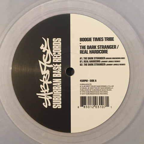 "Boogie Times Tribe - The Dark Stranger / Real Hardcore (12"", clear vinyl)"