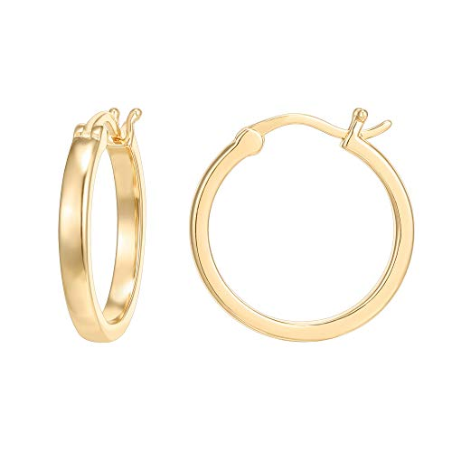 PAVOI 14K Gold Plated 925 Sterling Silver Post Lightweight Hoops | Gold Hoop Earrings for Women - Expott.com