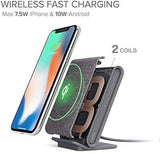 iOttie Ion Wireless Fast Charging Stand || Qi-Certified Charger 7.5W for iPhone Xs Max R 8 Plus 10W for Samsung S9 Note 9 | Includes USB C Cable & AC Adapter | Ash - Expott.com
