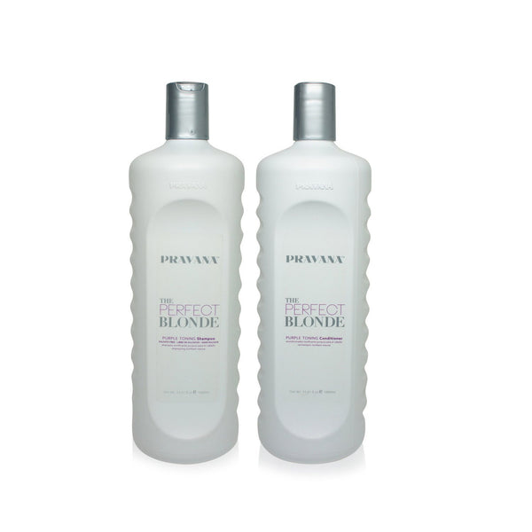 Pravana The Perfect Blonde Purple Toning Shampoo & Conditioner Liter Duo Set With Pumps... (No Pump) - Expott.com