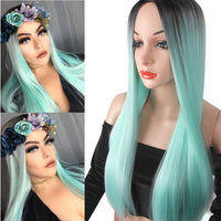 Ombre Green Long Straight Wig Colorful Middle Part Heat Resistant Synthetic Fiber Full Wigs for Woman Wigs Party Cosplay Daily Wig with Dark Roots Natural Looking Wig(Mint Green) - Expott.com