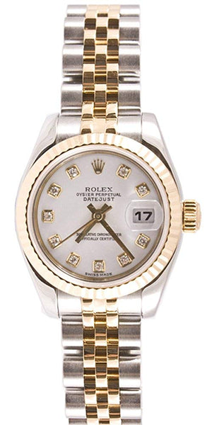 Rolex Ladys 179173 Datejust Steel & 18k Gold, Jubilee Band, Fluted Bezel & White Diamond Dial - Expott.com