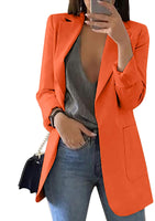 Women's Long Sleeve Solid Color Turn-Down Collar Coat Ladies Business Suit Cardigan Jacket Suit Blazer Tops - Expott.com