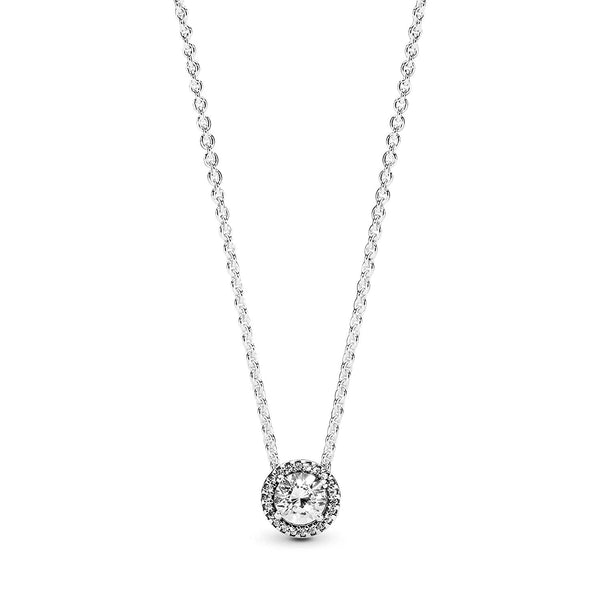Pandora Jewelry - Round Sparkle Halo Necklace in Sterling Silver with Clear Cubic Zirconia, 17.7 IN / 45 CM - Expott.com