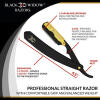 Barber Straight Razor, Professional Barber Straight Edge Razor - Barber Razor Compatible with Straight Razor Blade for Barber, Gold and Matte Black Straight Razor by Black Widow (1.5mm) - Expott.com