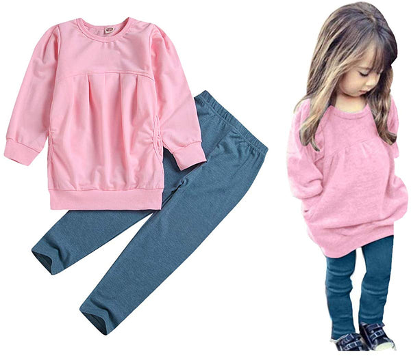 CM C&M WODRO Toddler Girls Clothes Winter Warm Long Sleeve Tops+Long Pants Set - Expott.com