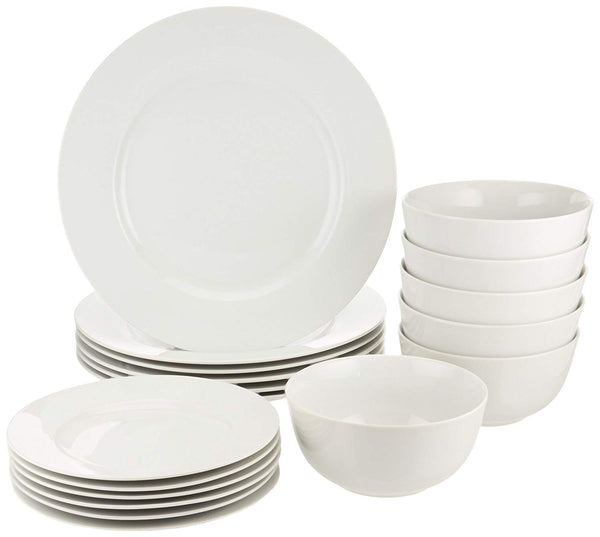 Home AmazonBasics 18-Piece White Kitchen Dinnerware Set, Dishes, Bowls, Service for 6 - Expott.com