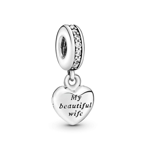 Pandora Jewelry - My Beautiful Wife Dangle Charm in Sterling Silver with Clear Cubic Zirconia - Expott.com