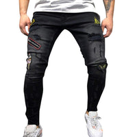 iYYVV Mens Autumn Denim Cotton Straight Hole Pocket Trousers Distressed Jeans Pants - Expott.com