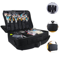 Relavel Makeup Bags Travel Large Makeup Case 16.5 inches Professional Makeup Train Case 3 Layer Cosmetic Bag Makeup Artist Organizer Brush Holder Storage with Shoulder Strap and Dividers (Black) - Expott.com