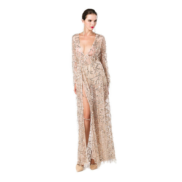 Miss ord Women Deep V Neck Long Sleeve Split Sequined Maxi Party Cocktail Dress Gold X-Small - Expott.com
