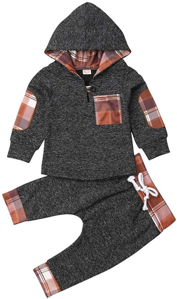 Infant Toddler Kids Baby Boys Girls Fall Clothes Outfit Plaid Pocket Hoodie Christmas Sweatshirt Pants Winter Clothes Set - Expott.com