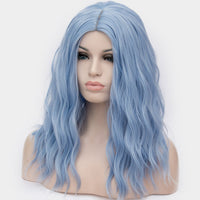OneUstar Women's Long Wavy Curly Wig 18 inch Cosplay Party Wig Sky Blue  - Expott.com