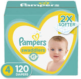 Diapers Size 4, 120 Count - Pampers Swaddlers Disposable Baby Diapers - Expott.com