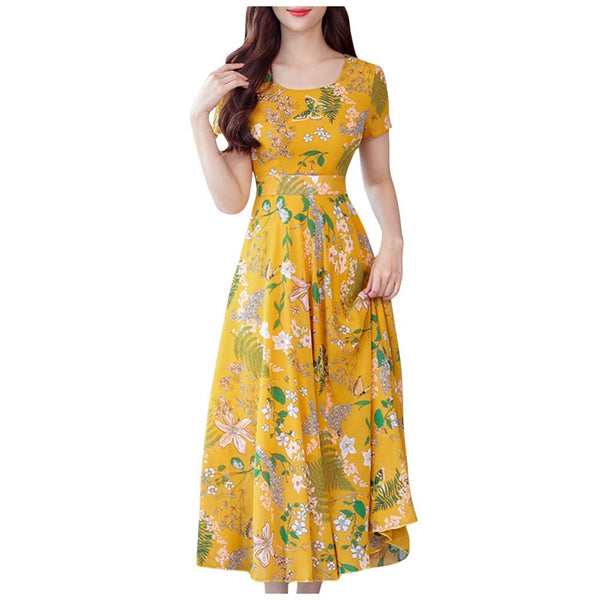 Plus Size Floral Print Long Dress for Women Summer Short Sleeve Casual Loose Beach Party Sundress - Expott.com