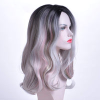 TISHINING Long Wavy Wigs Colorful Ombre Wig with Dark Roots Synthetic Fiber Wave Wig Natural Looking Cosplay Wig with Wig Cap - Expott.com