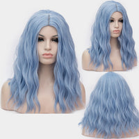 OneUstar Women's Long Wavy Curly Wig 18 inch Cosplay Party Wig Sky Blue
