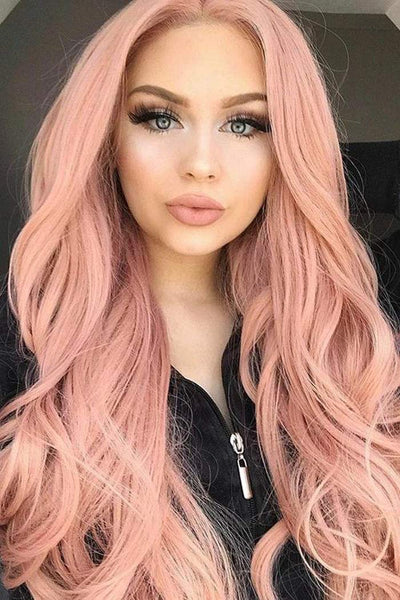 VRZ Lace Front Wigs Synthetic Hair Orange Pink Middle Part Free Style Long Wavy Heat Resistant Daily Party Wig for Women (SLFW-FN01) - Expott.com
