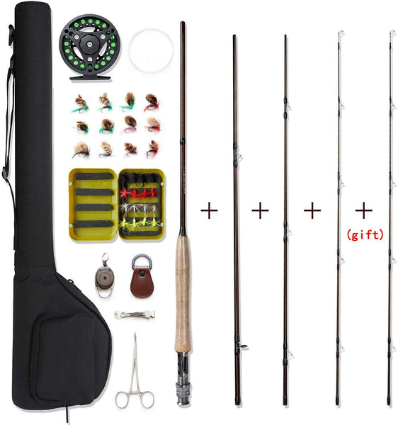 NetAngler Fly Fishing Rod and Reel Combo 4-Piece Fly Fishing Rod 5wt Aluminum Fly Reel 28 Pieces Flies Kit with Free Rod Tip,Backing,and Cloth Carry Bag - Expott.com