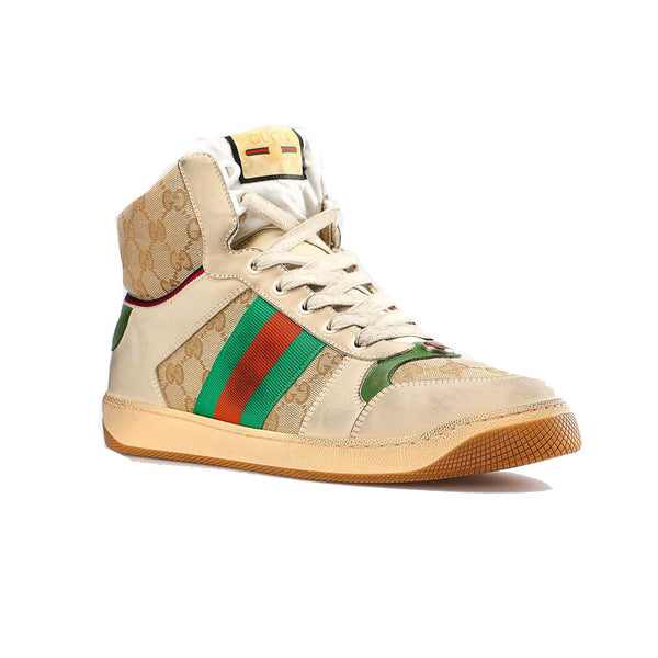Gucci Men's GG Screener Leather high-top Sneaker Shoes Beige - Expott.com