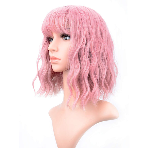 "VCKOVCKO Pastel Wavy Wig With Air Bangs Women's Short Bob Pink Wig Curly Wavy Shoulder Length Pastel Bob Synthetic Cosplay Wig for Girl Colorful Costume Wigs(12"", Pink) - Expott.com"