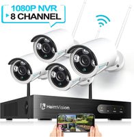 HeimVision HM241 Wireless Security Camera System, 8CH 1080P NVR 4Pcs 960P Outdoor/ Indoor WiFi Surveillance Cameras with Night Vision, Weatherproof, Motion Detection, Remote Monitoring, No Hard Drive - Expott.com