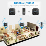 Wireless Doorbell,Waterproof Chime Kit Operating at 1000 feet with 1 Push Button Transmitter and 2 plug-in Receivers,55 Chimes,45 Level Volume LED Indicator -Black - Expott.com