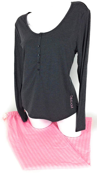 Victoria.. Secret Pajama Set Henley Top with Pant Set Large - Expott.com