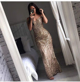 Miss ord Women's V Neck Sequined Prom Banquet Party Maxi Dress - Expott.com