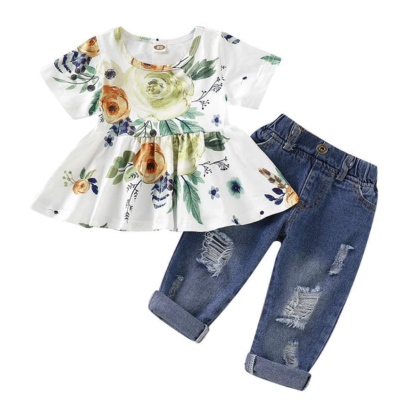 CARETOO Girls Clothes Outfits, Cute Baby Girl Floral Short Sleeve Pant Set Flower Ruffle Top - Expott.com