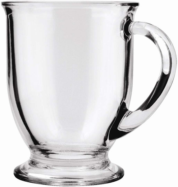 Home Anchor Hocking Café Glass Coffee Mugs, Clear, 16 oz (Set of 6) - 83045A - Expott.com