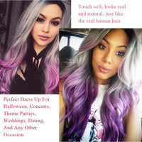Upgrade Of Silver Grey purple 3 Tones Ombre Hair Wig For Women, Elegant Dark Roots Long Curly Wavy Wigs Colorful Cosplay Party Wig 24inches - Expott.com