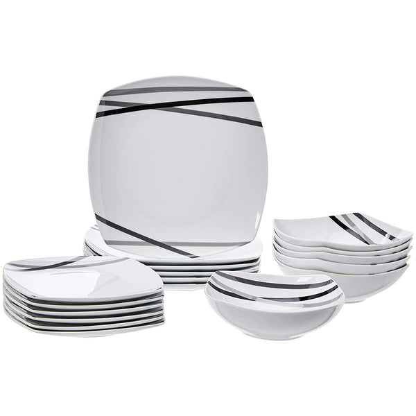 Home AmazonBasics 18-Piece Square Kitchen Dinnerware Set, Dishes, Bowls, Service for 6, Modern Beams - Expott.com