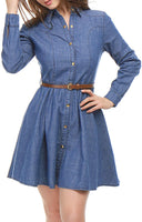 Allegra K Women's Long-Sleeves Belted Flared Above Knee Denim Shirt Dress - Expott.com