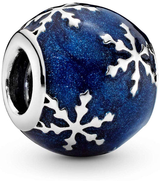 Pandora Jewelry - Wintry Delight Charm in Sterling Silver with Midnight Blue Enamel - Expott.com