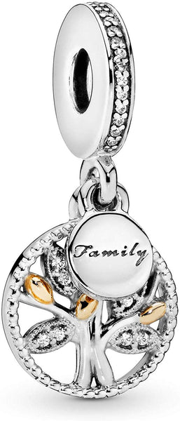Pandora Jewelry - Sparkling Family Tree Dangle Charm in Sterling Silver and 14K Yellow Gold with Clear Cubic Zirconia - Expott.com