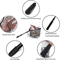 PLUSINNO Fishing Net Fish Landing Net, Foldable Collapsible Telescopic Pole Handle, Durable Nylon Material Mesh, Safe Fish Catching or Releasing - Expott.com