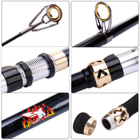 Burning Shark Fishing Rods, 24-Ton Ultra Lightweight Carbon Fiber Telescopic Fishing Rod, Stainless Steel Guides, Lengthened Hollow Handle,Travel Fishing Rod for Bass, Trout - Expott.com