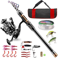 Bluefire Fishing Rod and Reel Combos Carbon Fiber Telescopic Fishing Rod Kit with Spinning Reel, Line, Lure, Hooks and Carrier Bag, Fishing Gear Set for Beginner Adults Kids Saltwater Freshwater - Expott.com