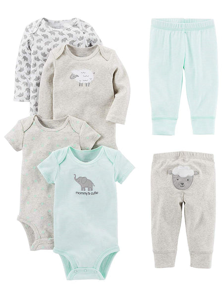Simple Joys by Carter's Baby 6-Piece Bodysuits (Short and Long Sleeve) and Pants Set - Expott.com