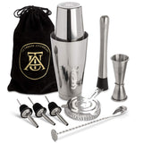 Home Boston Cocktail Shaker Set - Professional Bar Drink Mixing Supplies - Ultimate Collection Bartender Muddler Kit, Stainless Steel Martini Shakers, Gold with Black Velvet Sleeve - Expott.com