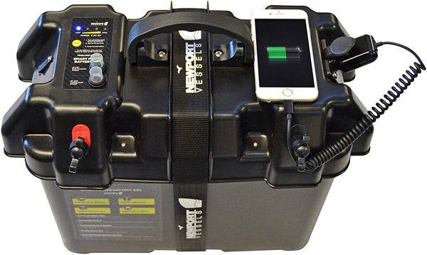 Newport Vessels Trolling Motor Smart Battery Box Power Center with USB and DC Ports - Expott.com